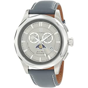 S. Coifman Men's SC0242 Chronograph Silver Grey Dial Grey Leather Watch