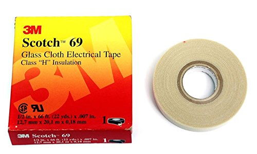 3M ELECTRICAL 500-10083 Scotch Glass Cloth Electrical Tapes 69, White , 0.50