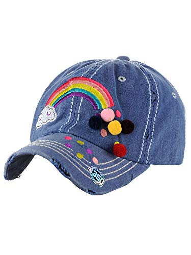 (NYFASHION101 Women's Distressed Unconstructed Embroidered Baseball Cap Dad Hat, Pom Rainbow, Navy)