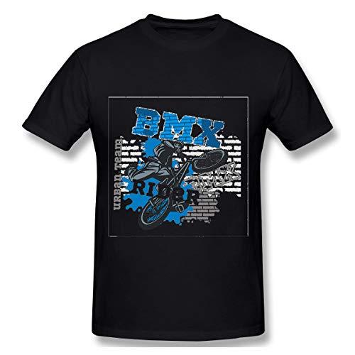 (Men's Short Sleeve Graphic Fashion T-Shirt BMX Rider Urban Team Design Freestyle Bike Trial Geo Black)