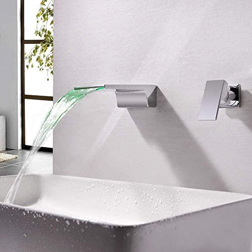 WXQ-XQ 実用的な美しい近代的なクローム導かれた温度制御発光色チェンジホットとコールド滝の蛇口スプリット2穴にザ・ウォール隠さ浴室バスタブ蛇口蛇口