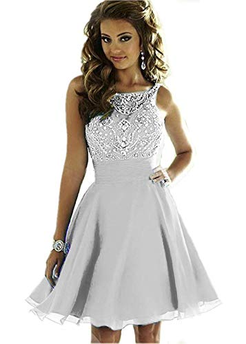 Lady Dress Women's Beaded Sparkly Bridesmaid Dresses Short Homecoming Prom Dresses 2018 for Juniors CLZ068 Silver
