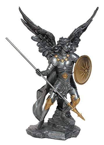 Raphael the Archangel Religious Sculpture Figurine Cold Cast Pewter Silver and Gold Tone