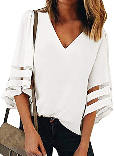 Lace Blouse V-neck - Womens White 3/4 Bell Sleeve V Neck T Shirts Loose Lace Mesh Patchwork Chiffon Blouse Tops ¡