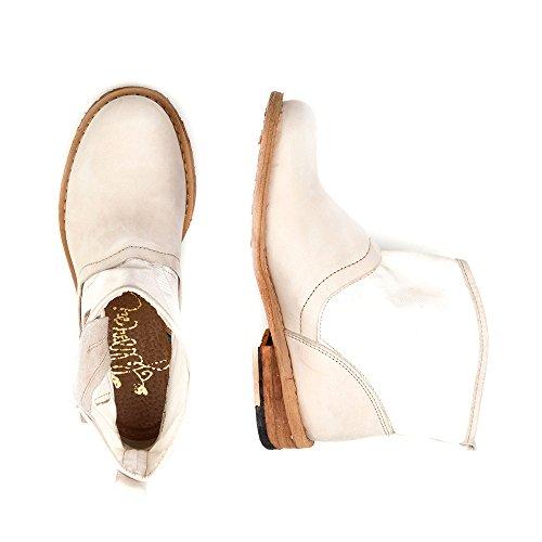 Felmini - Zapatos para Mujer - Enamorarse com Gredo 8264 - Botines Cowboy & Biker - Tela + Cuero Genuino - Beige - 0 EU Size Beige