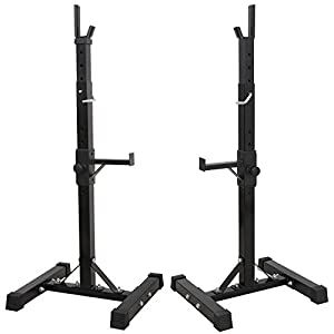 F2C Pair of Adjustable 41″-66″ Sturdy Steel Squat Rack Barbell Free Bench Press Stand Gym/Home Gym Portable Dumbbell Racks Stand Max 441lbs