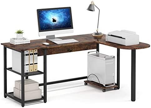 Cheap Tribesigns Reversible L-Shaped Desk modern office desk for sale