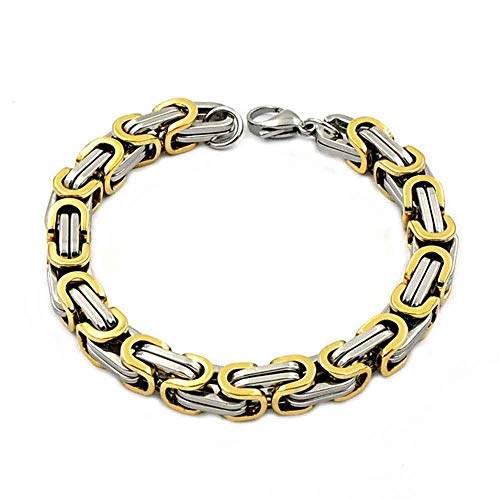 8mm Width Men Byzantine Chain Stainless Steel Wristband Fashion Bracelet Bangle ()