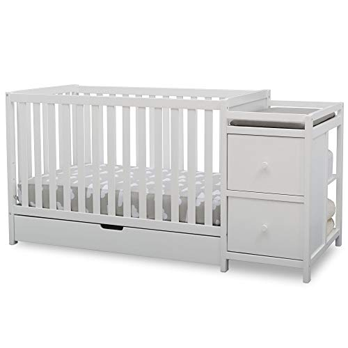 Delta Children Heartland Convertible Baby Crib N Changer with Drawer, Bianca White