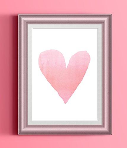 Watercolor Hand Drawn Pink Heart Art (Drawn Hearts)