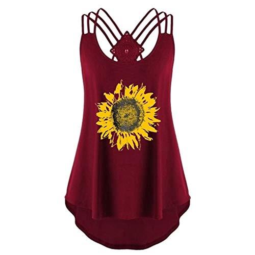 BODOAO Women Sleeveless Tank Tops Sunflower Print Bandages Vest Top Strappy Shirt Wine