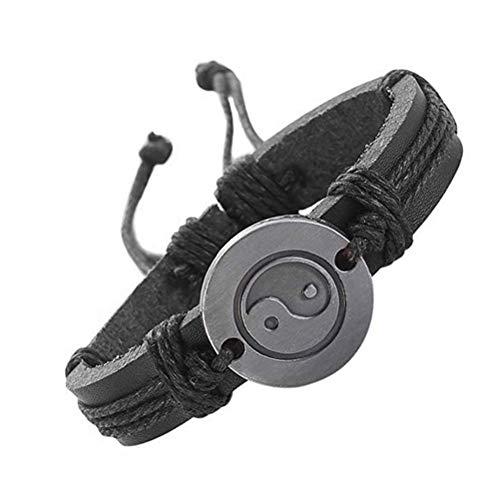MUZHE Yin Yang Leather Bracelet Adjustable Handmade Cowhide Woven Braided Cuff Wrap Man Women Bangle (Black) ()