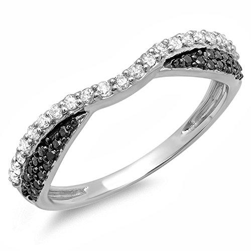 0.40 Carat (ctw) 14K Gold Black & White Diamond Ladies Wedding Band Stackable Ring