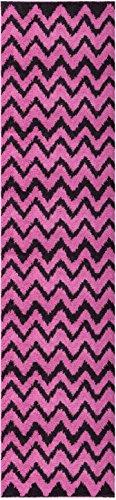 - Well Woven Runner Rug Madison Shag Passion Chevron Zig Zag Fuchsia Pink Modern 20'' X 7'2'' Flokati Soft Plush Thick Rug 7057