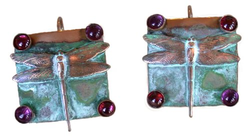 Garnet Dragonfly Ring - Dragonfly Patina Earrings - Amethyst, Garnet