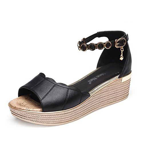 Cómo Tamaño Mujer Negro ZCJB Boca Gruesa Pescado De Sandalias Muffin De Color Zapatos La De 39 Abajo Boca Aumentar Desgaste Exterior Cómodo Cuña Negro Verano 8dnBSpn