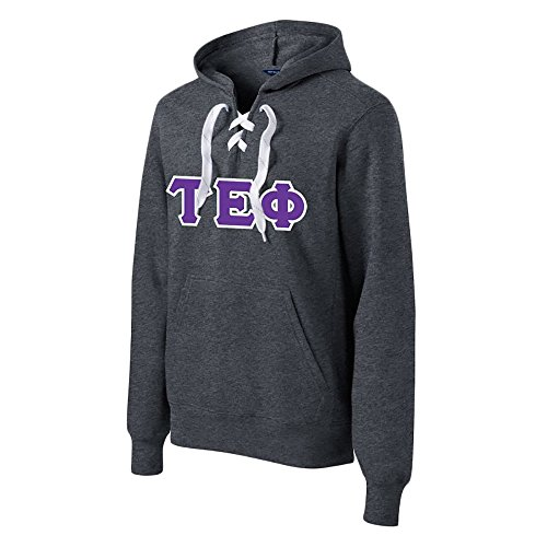 (Tau Epsilon Phi Lace up Pullover Hooded Sweatshirt Medium Graphite Heather)