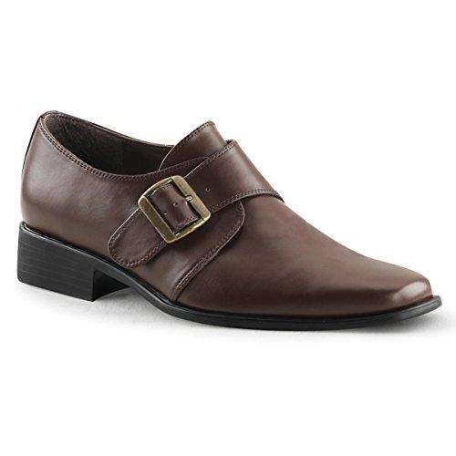 Heren Mat Bruin Loafers Met 1 Inch Platte Hak En Gesp Detail Jurk Schoenen