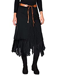 Womens Bohemian Gypsy Cotton Belted Elastic High Waist Maxi Long Skirt Plus Size