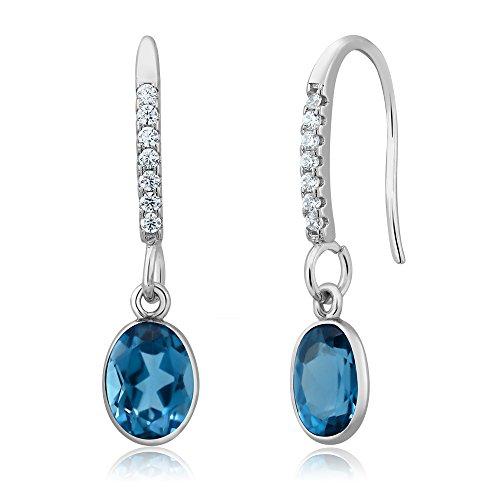 3.00 Ct Oval London Blue Topaz 925 Sterling Silver Gemstone Birthstone Dangle (Oval Dangle Wire Earrings)