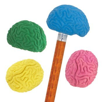 Brain Shaped Pencil Top Erasers - 36 per set by For Teachers Only