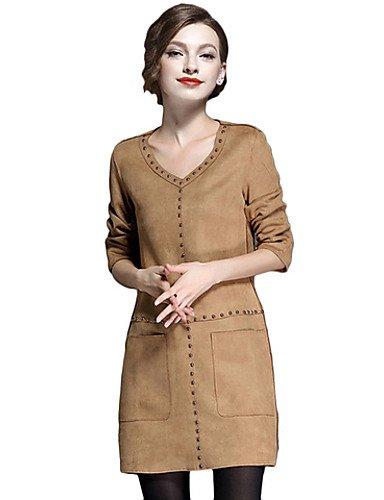 PU&PU Robe Aux femmes Trapèze Street Chic,Couleur Pleine Col en V Au dessus du genou Polyester , gray-10 , gray-10