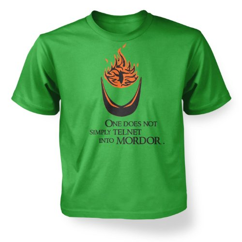 Telnet Into Mordor Kids' T-shirt - Irish Green 5-6 Years ()