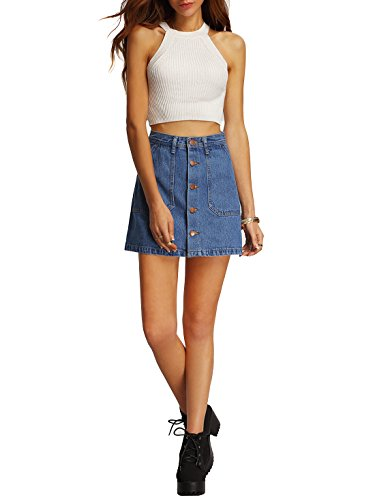 SheIn Women's Button Front Denim A-Line Short Skirt - A-Blue Small by SheIn (Image #1)