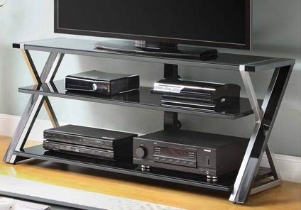 Amazoncom Tv Stand For 65 Inch Tv Black Tempered Glass Metal