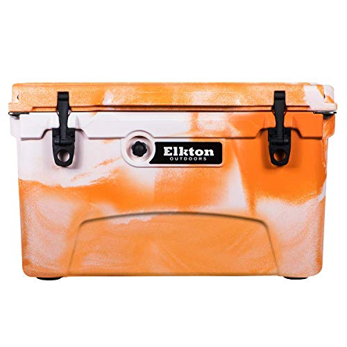 Elkton Outdoors Ice Chest. Heavy Duty, High Performance Roto-Molded Commercial Grade Insulated Cooler, 45-Quart, Orange