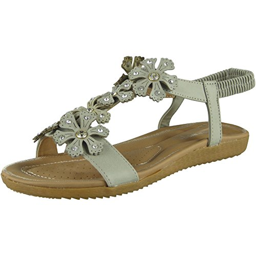 Elastic Bling Womens Sizes Loud Comfy Peeptoe Sandals Flat Grey Ladies Look 3 Summer 8 Shoes Strap qtqx0R7
