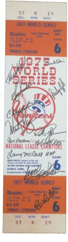 Yankee Game Ticket (1977 New York Yankees Autographed 1977 World Series Game 6 Mini Mega Ticket (MAB - 77NYYMMT4))