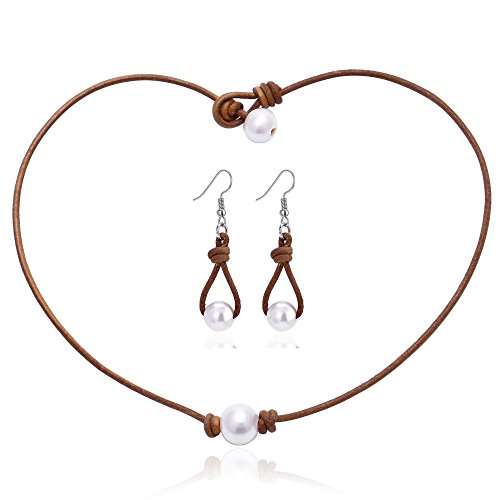 16' Pearl Necklace Jewelry (Aobei Single Cultured Freshwater White Pearl Leather Choker Necklace and Earring Set for Women One Bead Jewelry 16'' Light Brown)
