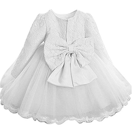 NNJXD Girls' Tulle Flower Princess Wedding Long Sleeve Dress for Toddler and Baby Girl Size 12-18 Months Pure White