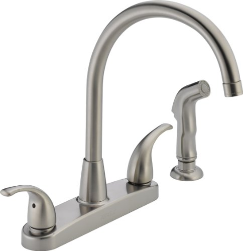 Stainless Steel 3 Hole Installation - Peerless Tunbridge 2-Handle Kitchen Sink Faucet with Side Sprayer, Stainless P299578LF-SS