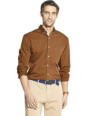 IZOD Men's Slim Button Down Long Sleeve Stretch Performance Plaid Shirt