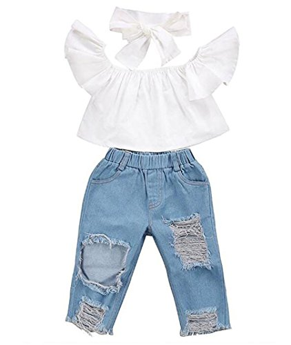 WOCACHI Toddler Girl Clothes, 3 Piece Set Baby Off Shoulder Tops Hole Denim Pant Jean Headband