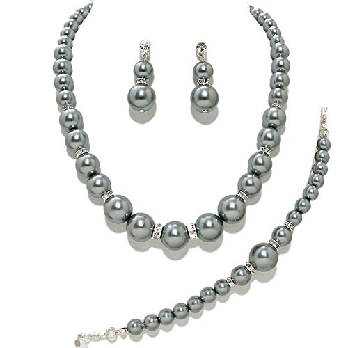 (Women's Simulated Faux Rhinestone Trimmed Pearl Necklace, Bracelet, Pierced Earring 3 Set (Silver Grey))