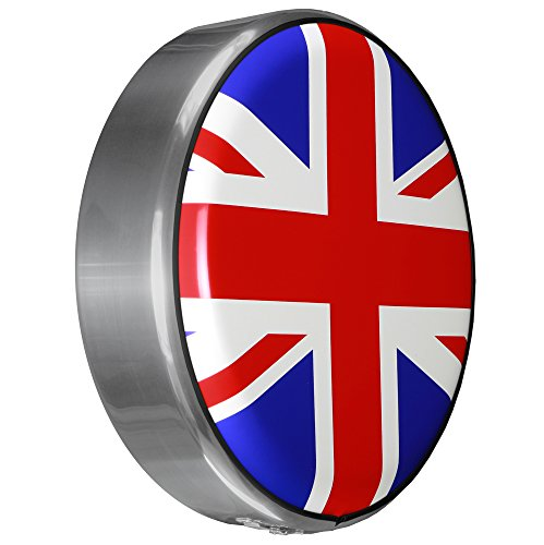 MasterSeries - Continental Tire Cover Kit (245/75R16 ) - (Molded Plastic Face & Polished Stainless Ring) - Union Jack Flag Print by Boomerang