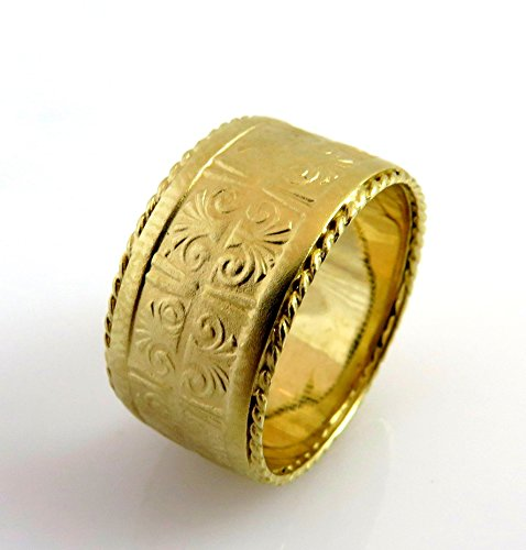 14k-matte-gold-uniquewomen-widewedding-band-vintage-ancient-egyptian-pattern-ring
