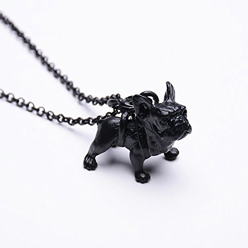 Coolrunner Vintage French Bulldog Necklace Women Lovely Puppy Bull Dog Statement Necklace (Black)