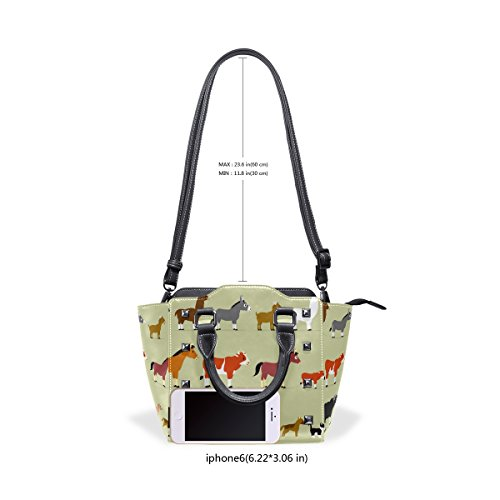 Handle Leather Handbags TIZORAX Cartoon Women's Cute Shoulder Top Farm Characters Bags PU ZZq1Rz