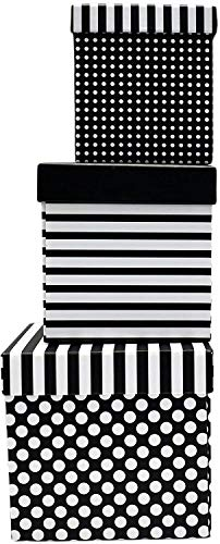 Alef Elegant Decorative Themed Nesting Gift Boxes -3 Boxes- Nesting Boxes Beautifully Themed and Decorated - Perfect for Gifts or Simple Decoration Around the House! (Square Blanc en Noir)