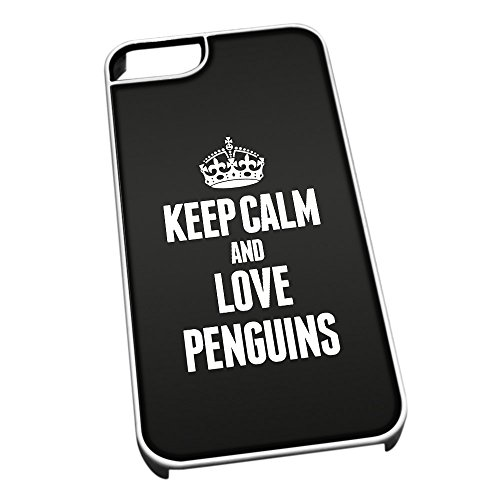 Bianco cover per iPhone 5/5S 2465 nero Keep Calm and Love Penguins