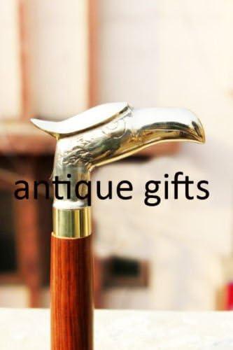 Antique Style Brass Handle Eagle Head Vintage Wooden Walking Stick Nautical Cane