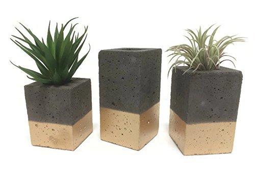 Square Concrete Planters / Vase. (set of 3). CHARCOAL & GOLD. (Concrete Decor)