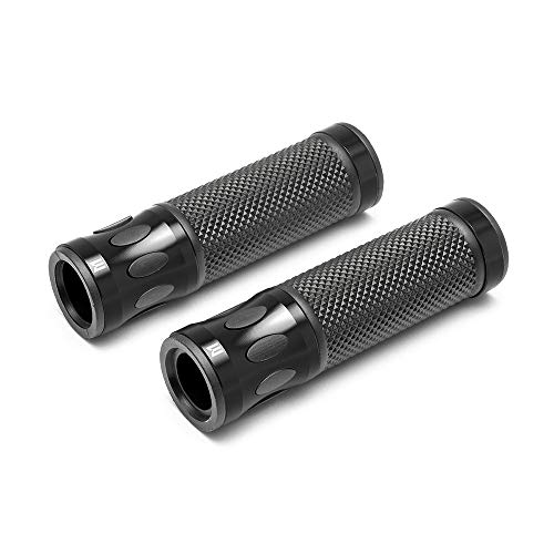 - Max-Inc Oval Cut Custom Black Anodized CNC Machined Aluminum & Rubber Motorcycle Hand Grips for a Cafe Racer, Naked Bike, Sports Bike, Supermoto, Scooter, fits 7/8