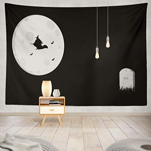 KJONG Minimal Halloween with Moon Bats Witch and Stone Abstract Art Backdrop Black Bright Cemetery Space Cover Creepy Decorative Tapestry,60X60 Inches Wall Hanging Tapestry for Bedroom Living Room
