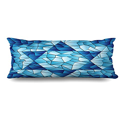 (Ahawoso Body Pillows Cover 20x54 Inches Blue Hanukkah Six Pointed Star Stained Chanukah Jewish David Passover Glass Window Pattern Design Decorative Zippered Pillow Case Home Decor Pillowcase)