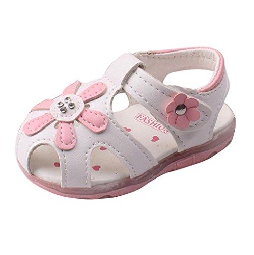Prewalker Zapatos Auxma Las sandalias huecos de las flores de los bebés Soft-Soled princesa calzan los zapatos del verano de Firstwalker Iluminado Blanco
